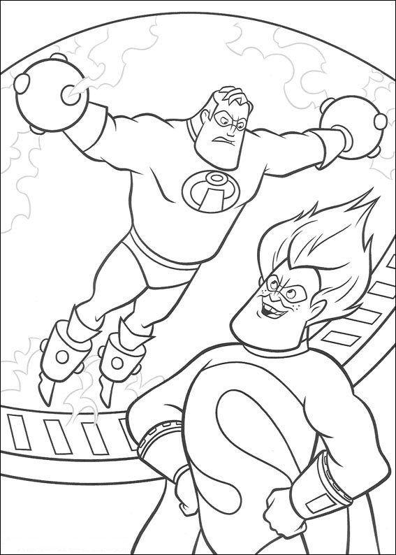 Kids N Fun Kleurplaat Incredibles Mr Incredible En Syndrome Disney Coloring Pages Coloring Pages Super Coloring Pages
