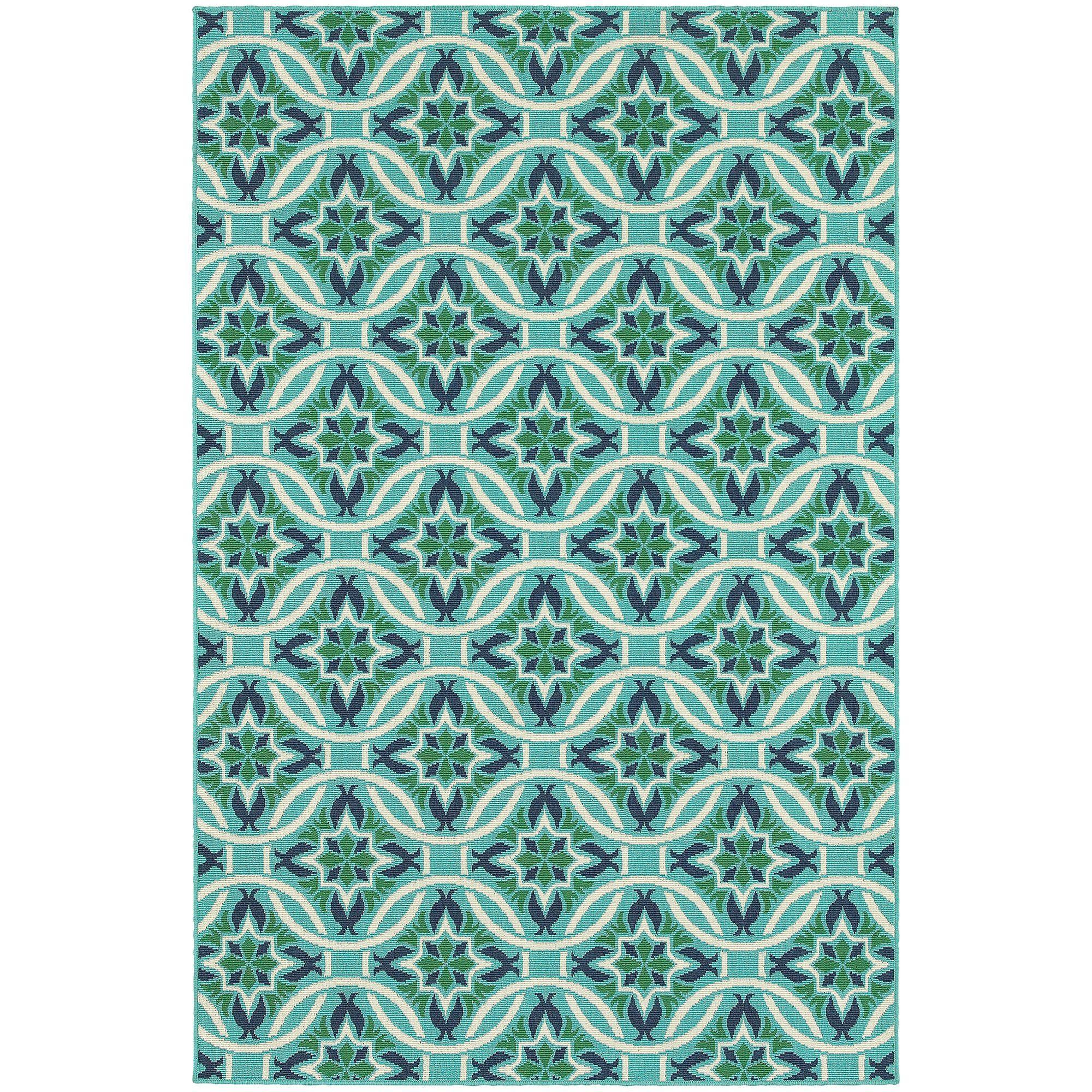 Cortlandt Blue/Green Indoor/Outdoor Area Rug
