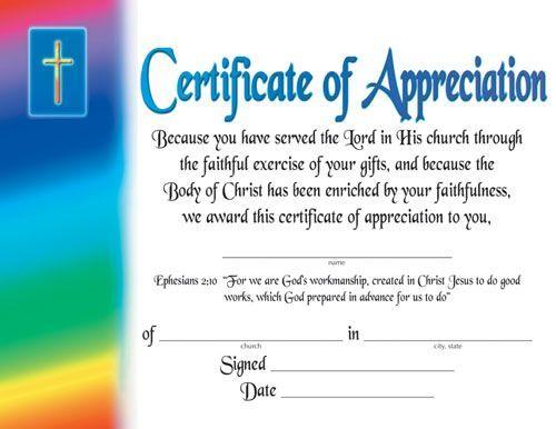 Certificate Of AppreciationReligious  Certificate Of