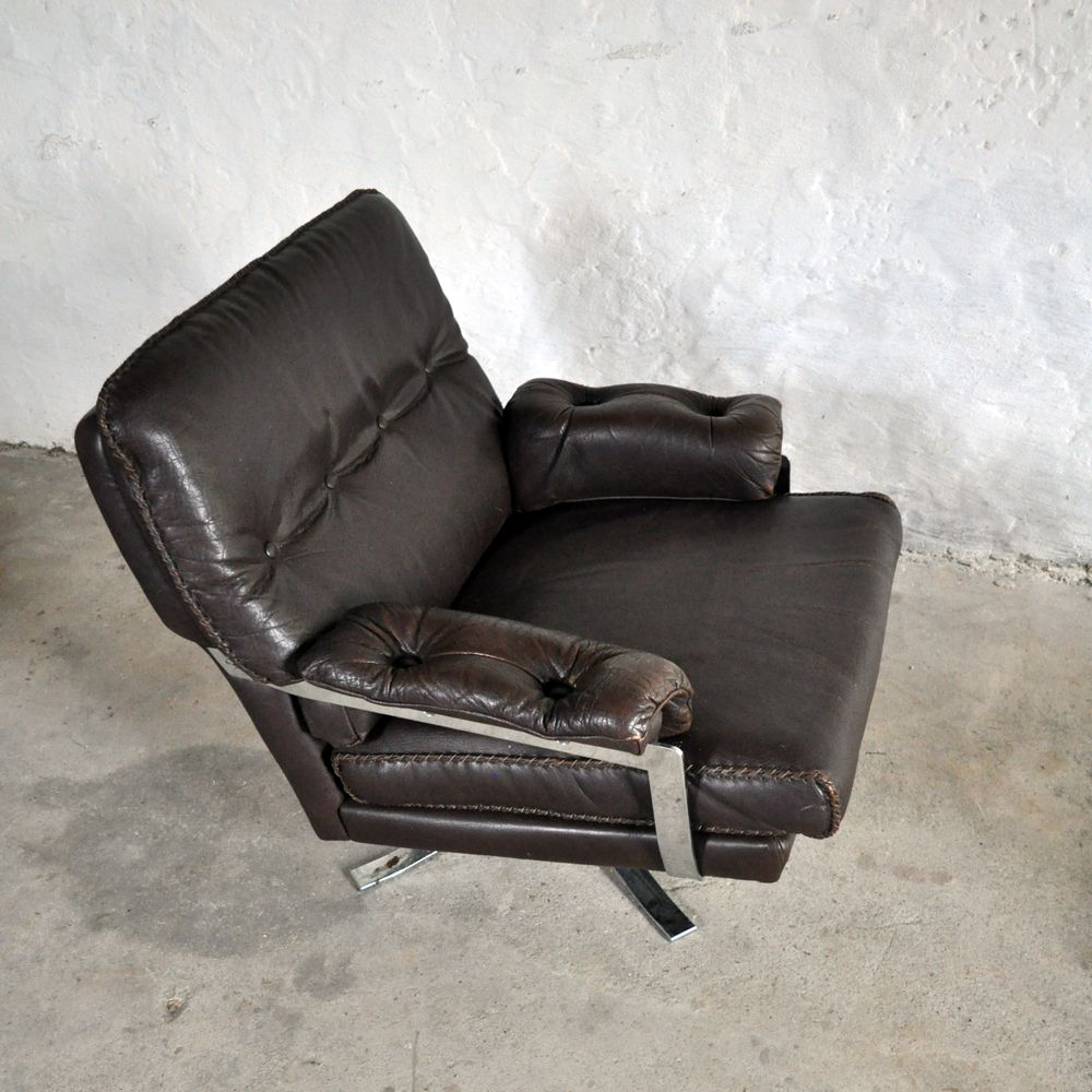 Brown Leather Lounge Chair Dunkelbraunes Leder Lounge Sessel - Lounge Sessel Leder