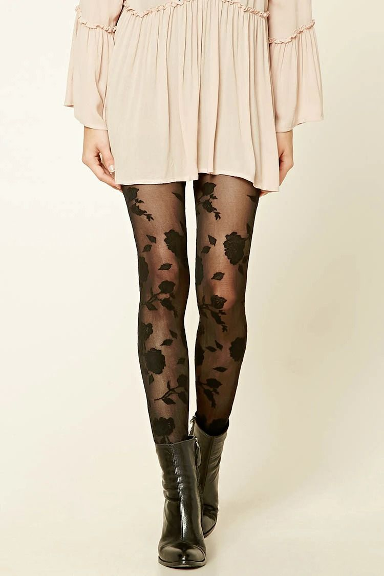 Black dress printed tights