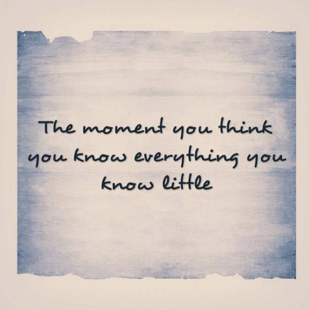 You Think You Know Everything Quotes: The Moment You Think You Know Everything You Know Little