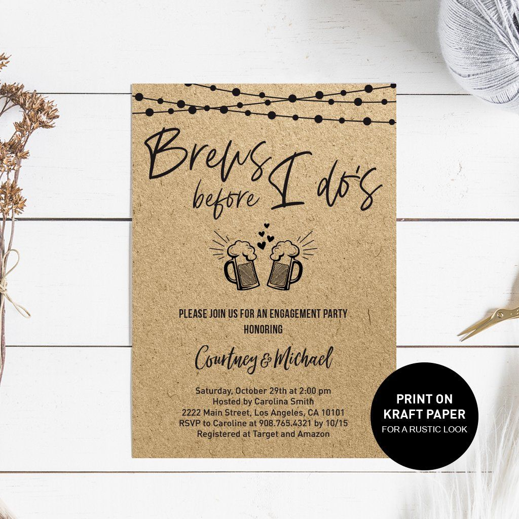 Couples Shower Invite Beer Instant Download Invites Love is Brewing Rehearsal Dinner Invitation Engagement Party Digital Invitations