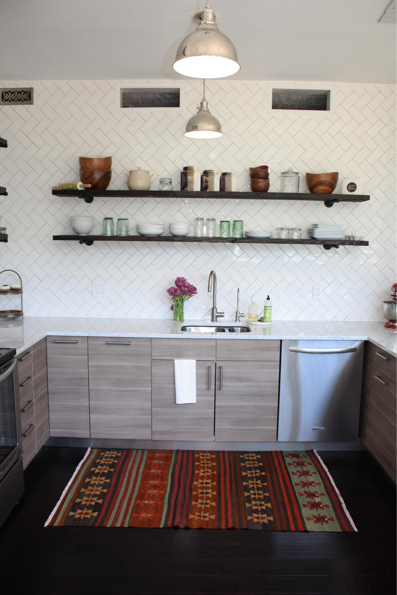 Diy Kitchen Renovation Remodel Before And After Boulder Co Ikea Sofielund Cabinets Open Shelving Herringbone Tile Backsplash