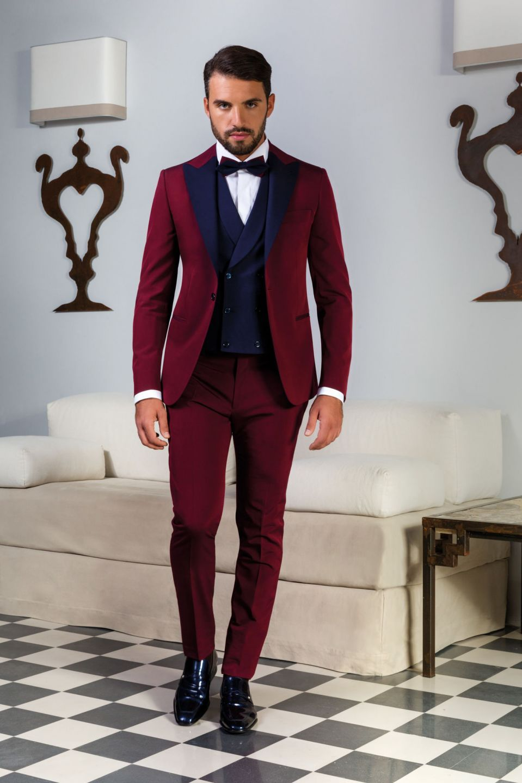 Gilet Uomo Matrimonio : Coordinato bordeaux con gilet doppio petto blu pánská móda