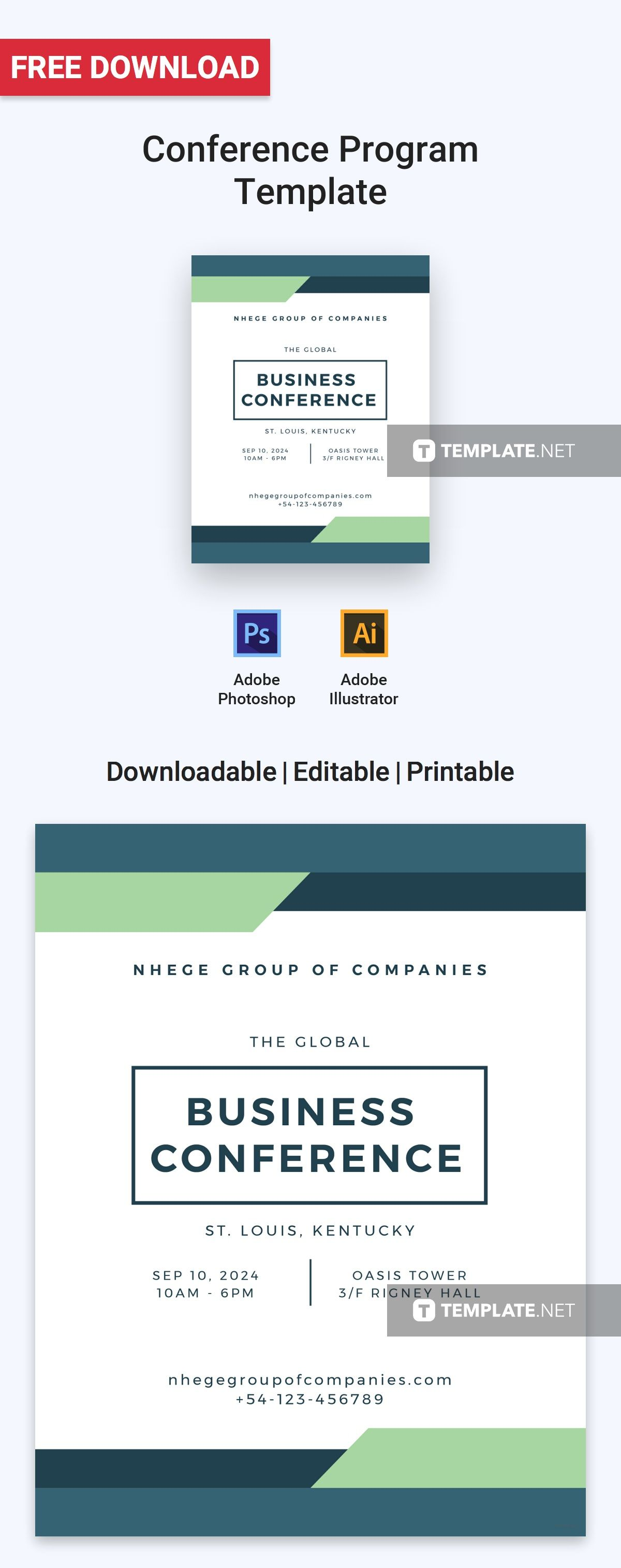 Free conference program program template template and photoshop download free conference program template for personal business use professionally designed free program templates maxwellsz