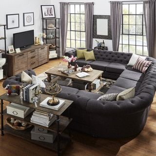 Knightsbridge Tufted Scroll Arm Chesterfield 11 Seat U Shaped Sectional By Inspire Q Artisan U Shaped Sectional Sofa U Shaped Sofa Living Room Sofa Design