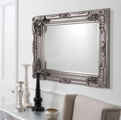 Large Silver Rectangle Antique Style Wall Mirror 4ft X 3ft 120cm 90cm From Tesco Direct 169 99