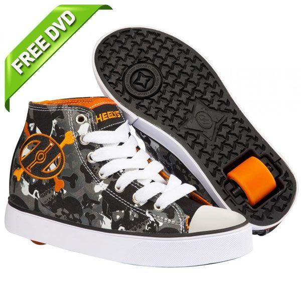 Heelys Hustle Boys Black/White/Orange One Wheel Heelys, FREE 'How to Heel' DVD! | eBay