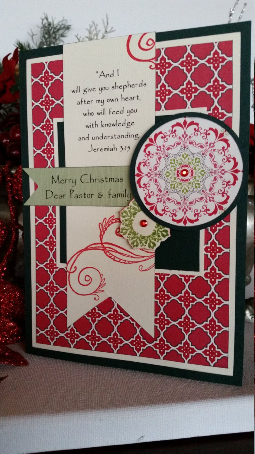 Christmas card handmade for pastor family or priest by christmas card handmade for pastor family or priest by selatyssentiments on etsy kristyandbryce Image collections