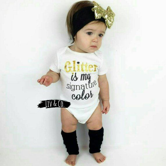 b5b02938f7d0 Glitter Is My Signature Color® Infant Newborn Baby Girl Outfit ...
