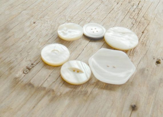 Mother Of Pearl Vintage Buttons Qty of 6 by Cowgirluplady on Etsy