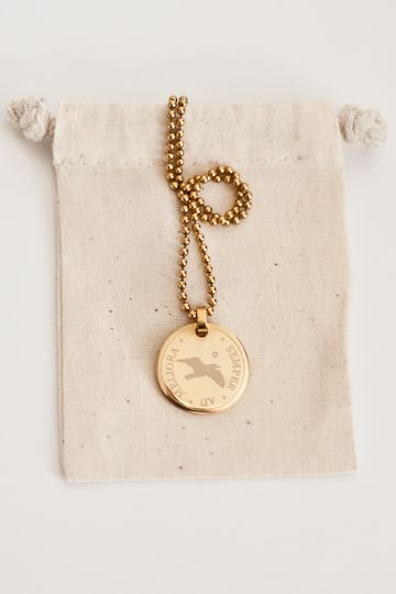 """Gold coin necklace. The Latin translates to """"Always towards better things"""""""