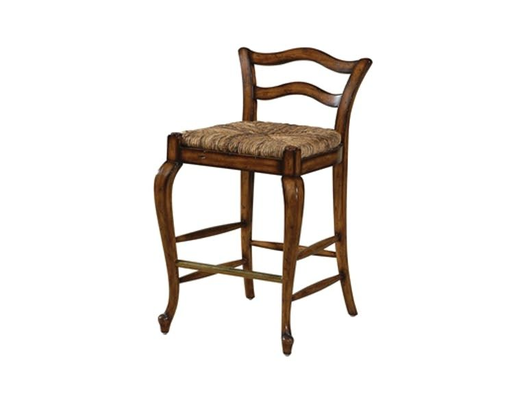 Maitland Smith Avignon Cottage Finished Counter Stool With Abaca Rope Rush Seat Brass Foot Rest 42 Counter Stools Discount Furniture Stores Country Bar Stools
