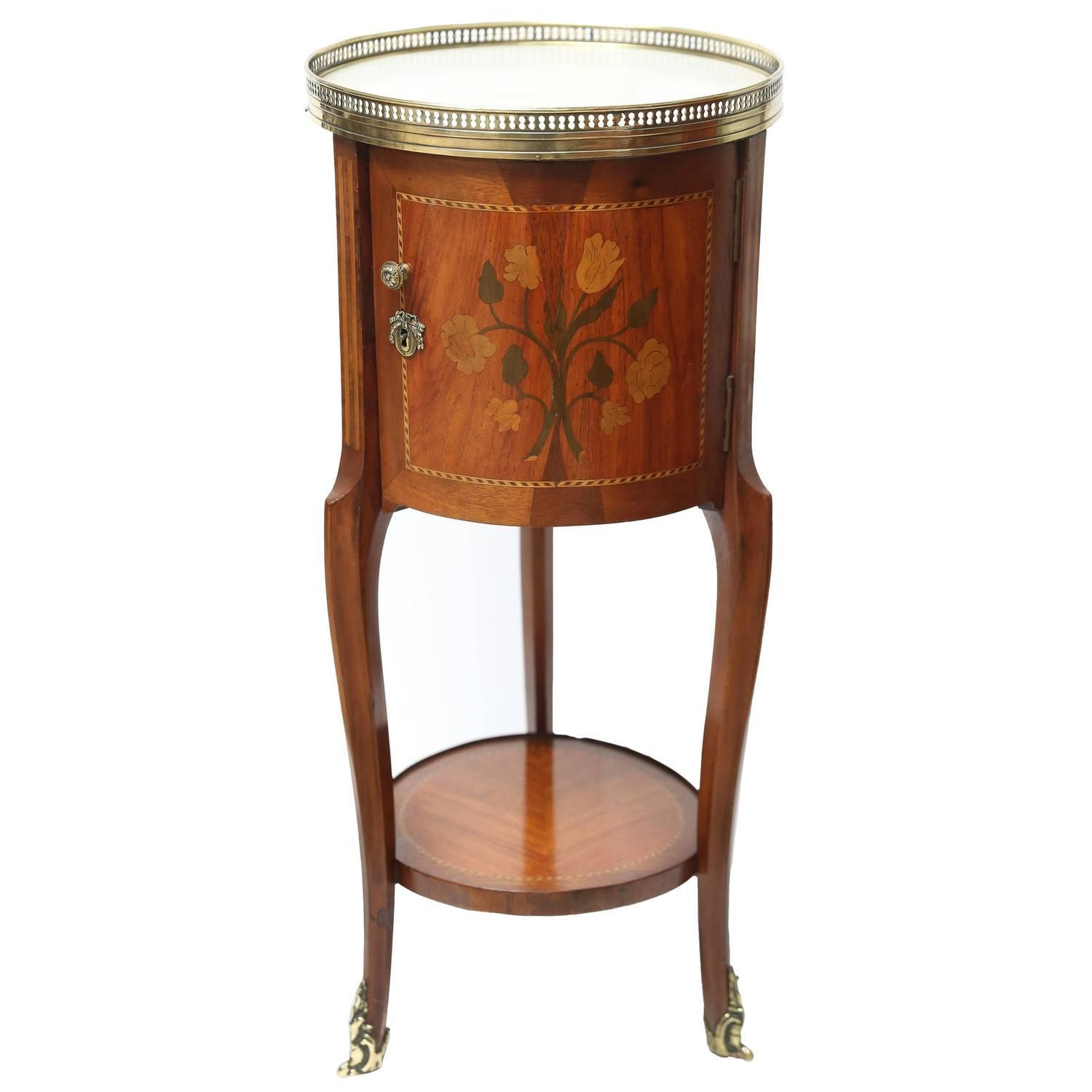 Antique French Napoleon III Period Mahogany Marble-Top End Table, circa 1870