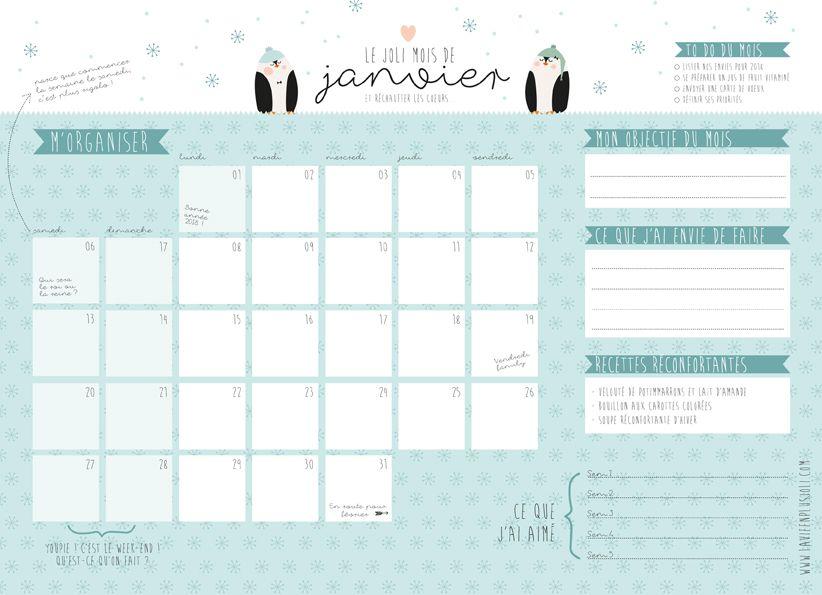 Calendrier du mois de janvier à imprimer | Calendrier, A imprimer