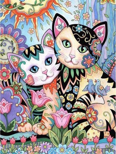 Arty The Cat In The Garden With A Friend Diamond Painting Cat Painting Kitten Coloring Book Cat Colors