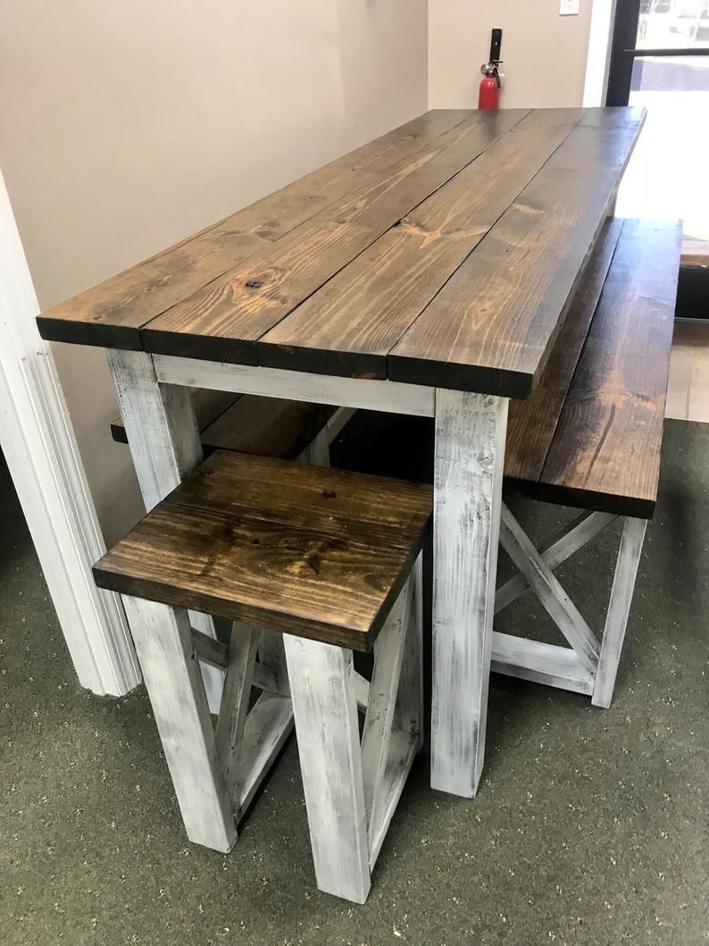 Long Pub Style Farmhouse Table Set With Stools and Tall