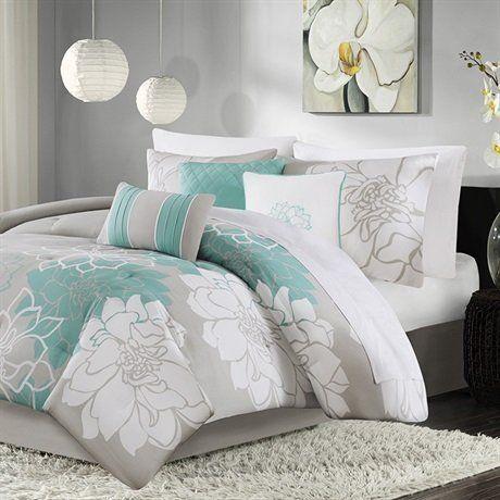 Amazon Com Madison Park Lola Comforter Set Aqua King Home