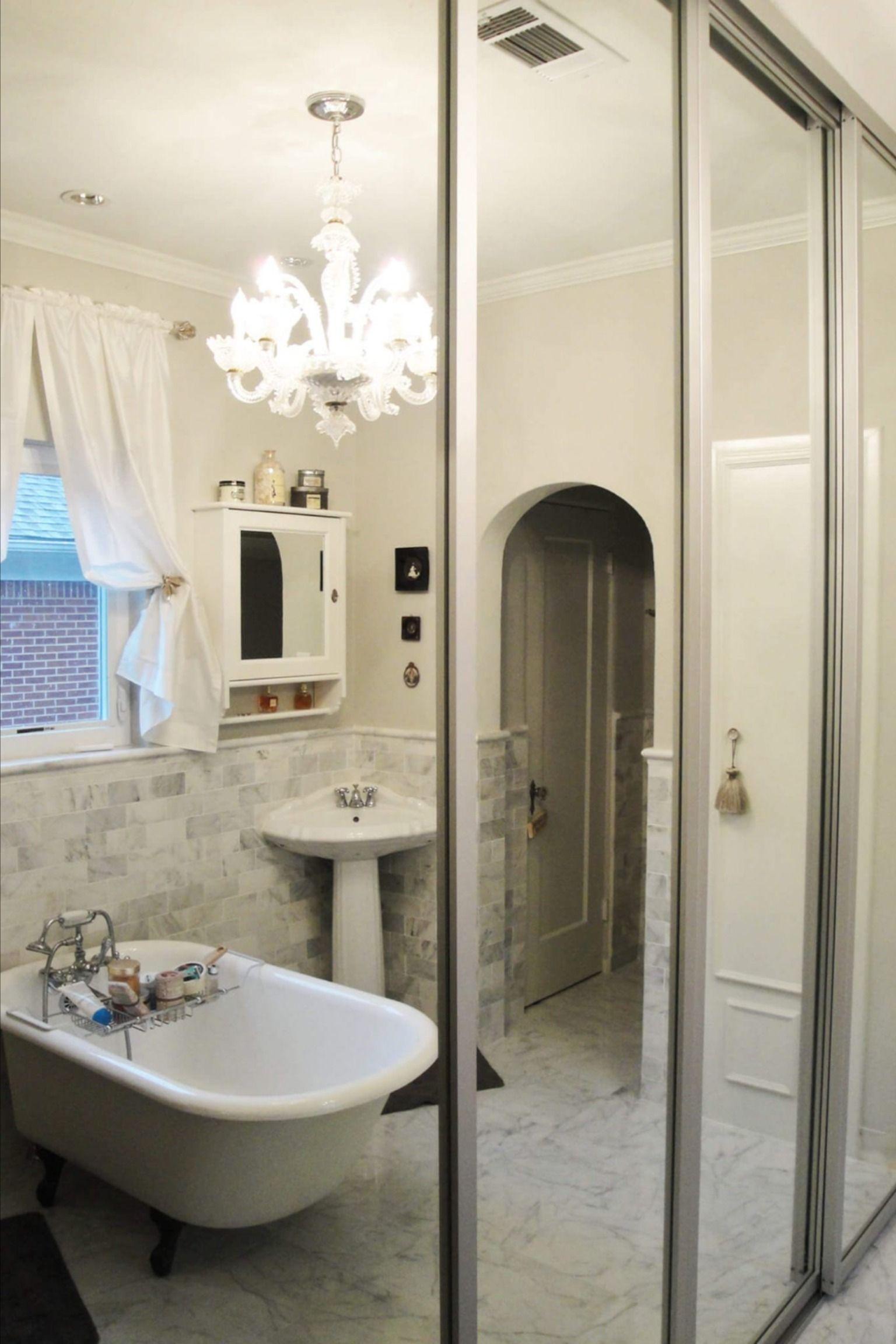 Mirrored Doors Will Make Your Tiny Guest Bathroom Appear Larger In 2020 Glass Closet Glass Closet Doors Door Design Interior