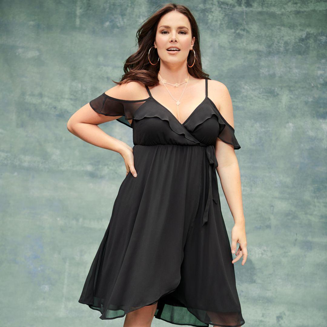 Black cold shoulder chiffon wrap dress dresses wrap