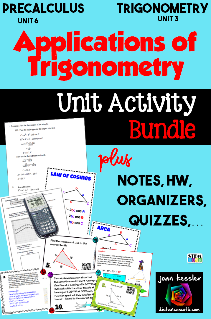 Applications of Trigonometry Unit Bundle Part I   - Secondary and