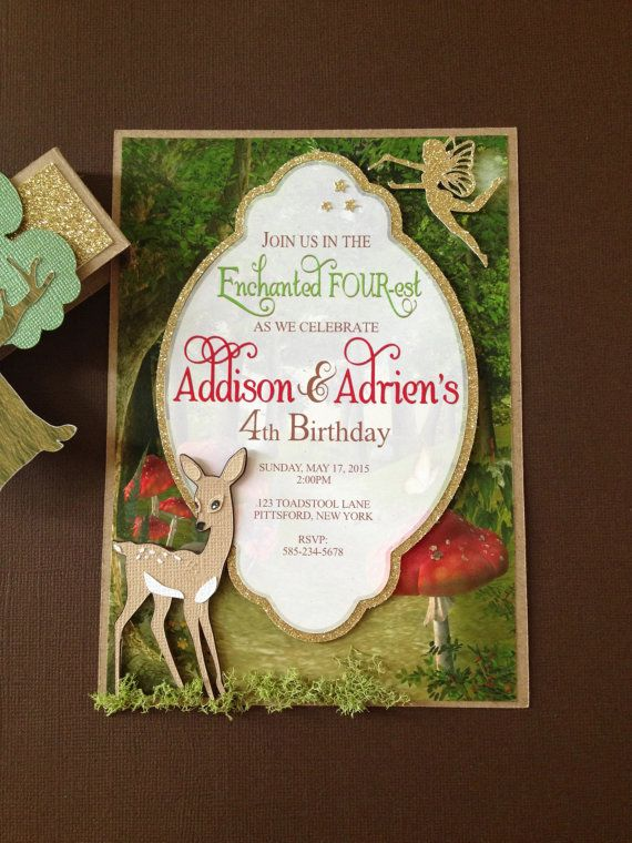 Enchanted Forest Woodland Theme Invitation Handmade Layered