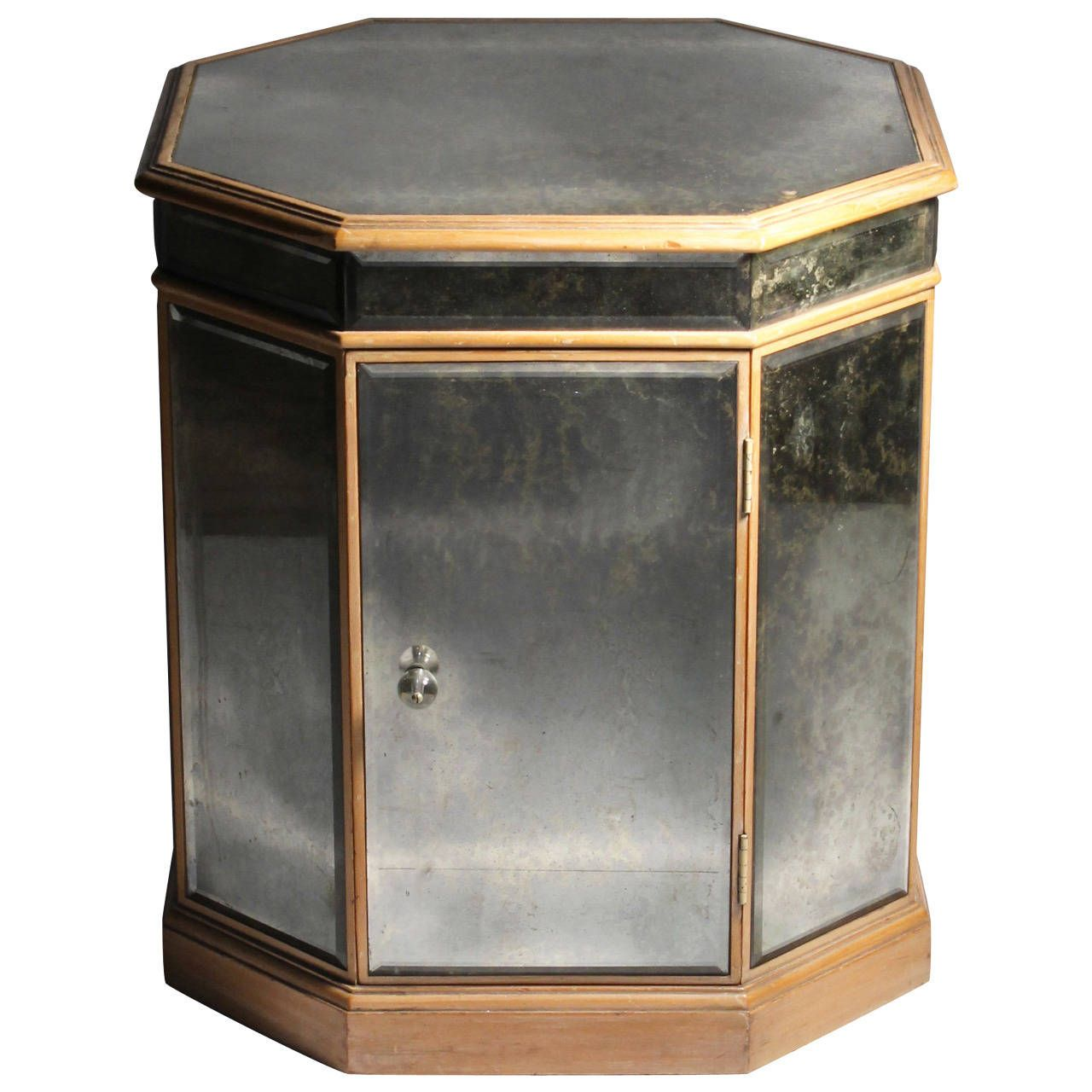 Grosfeld House Vintage Mirrored Octagon Table Cabinet Manner Hollywood Regency