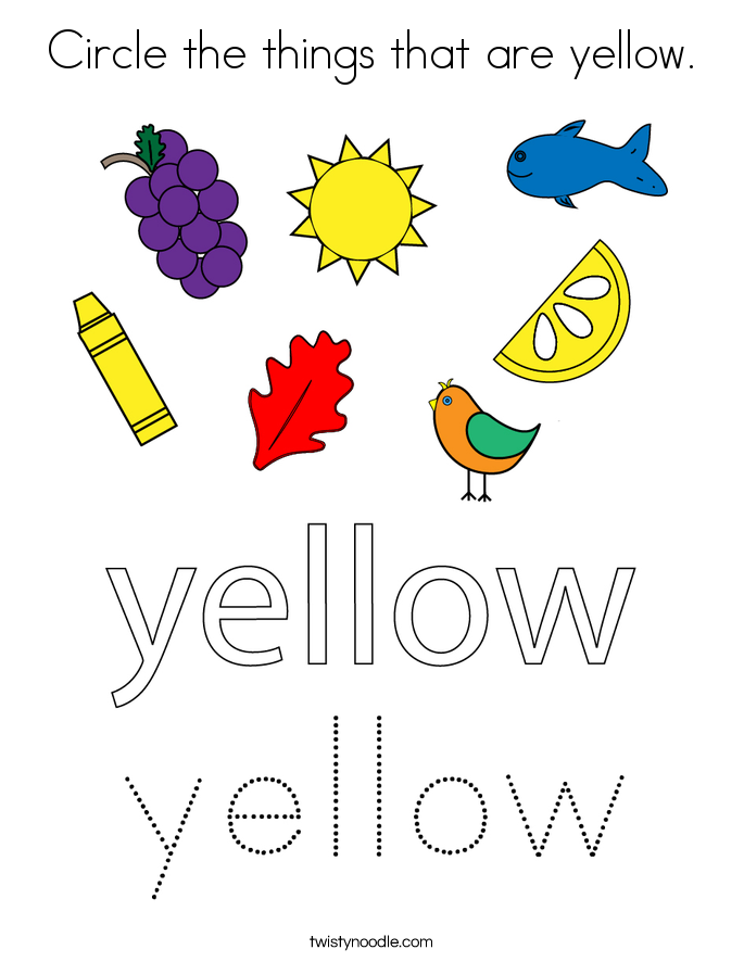 Circle The Things That Are Yellow Coloring Page Twisty Noodle Handwriting Worksheets For Kids Color Activities Preschool Letters