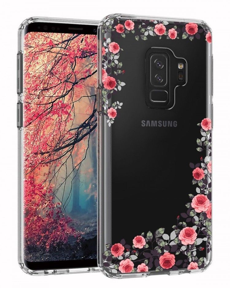 Samsung Galaxy S9 Plus Case Flexible Tpu Floral Design Slim Cover Rose Flower Lontect Phone Cases Samsung Galaxy Crystal Phone Case Samsung Phone Cases