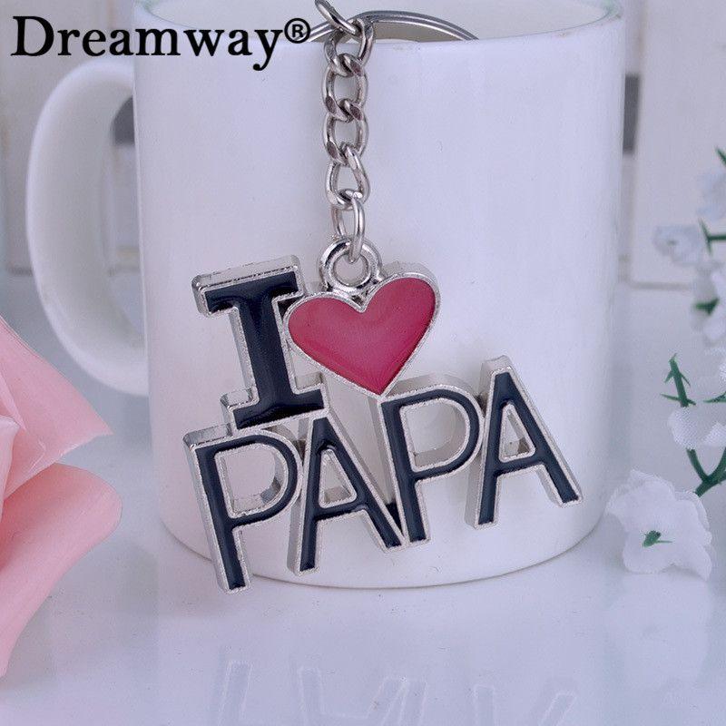אני אוהב את האבא מכתב לב מחזיק מפתחות מחזיקי מפתחות הטובים ביותר תכשיט יום אב מתנה איש מכונית טבעת מפתח מפתחות מזכרות Souvenir Jewelry Love U Mom Jewelry Sets