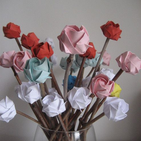 Photo of Christmas Paper roses bouquet-12 stems origami roses on natrual sticks