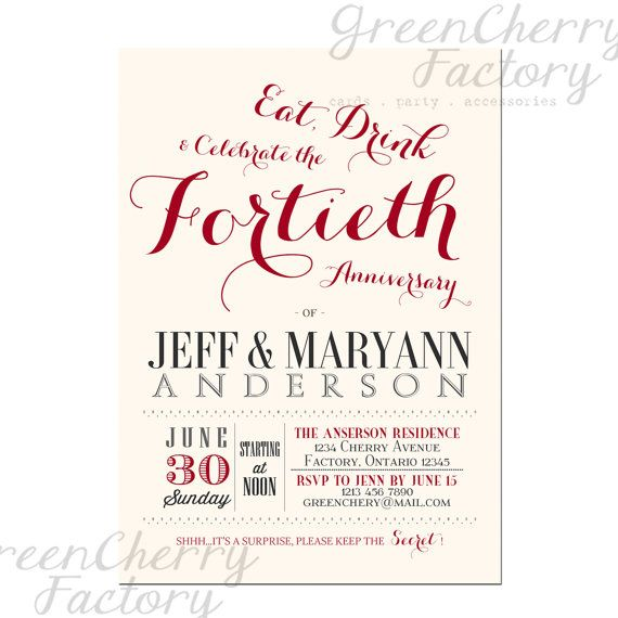 40th wedding anniversary invitation ruby red couple wedding 40th wedding anniversary invitation ruby red couple wedding anniversary printable invites no524 via etsy stopboris Image collections