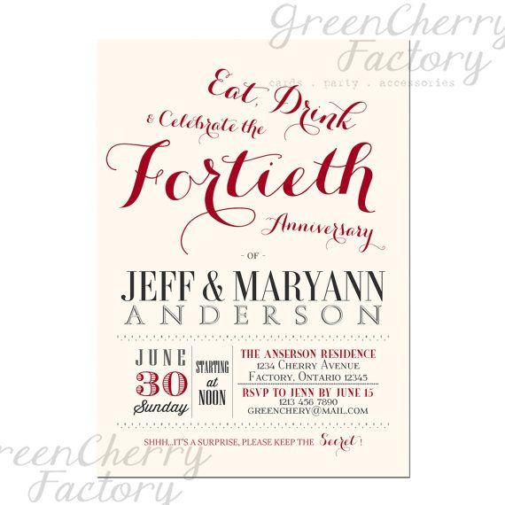 40th Wedding Anniversary Invitation - Ruby Red - Couple Wedding - invitation template online