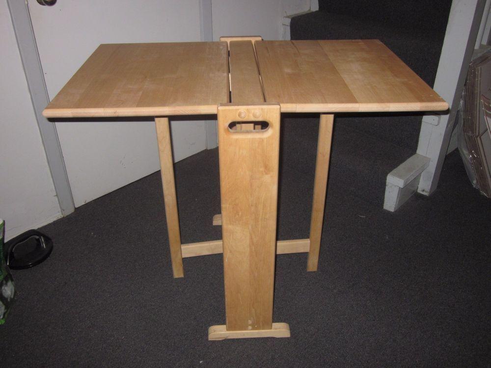 Butcher Block Wooden Fold Away Table Dual Drop Leaf #Modern