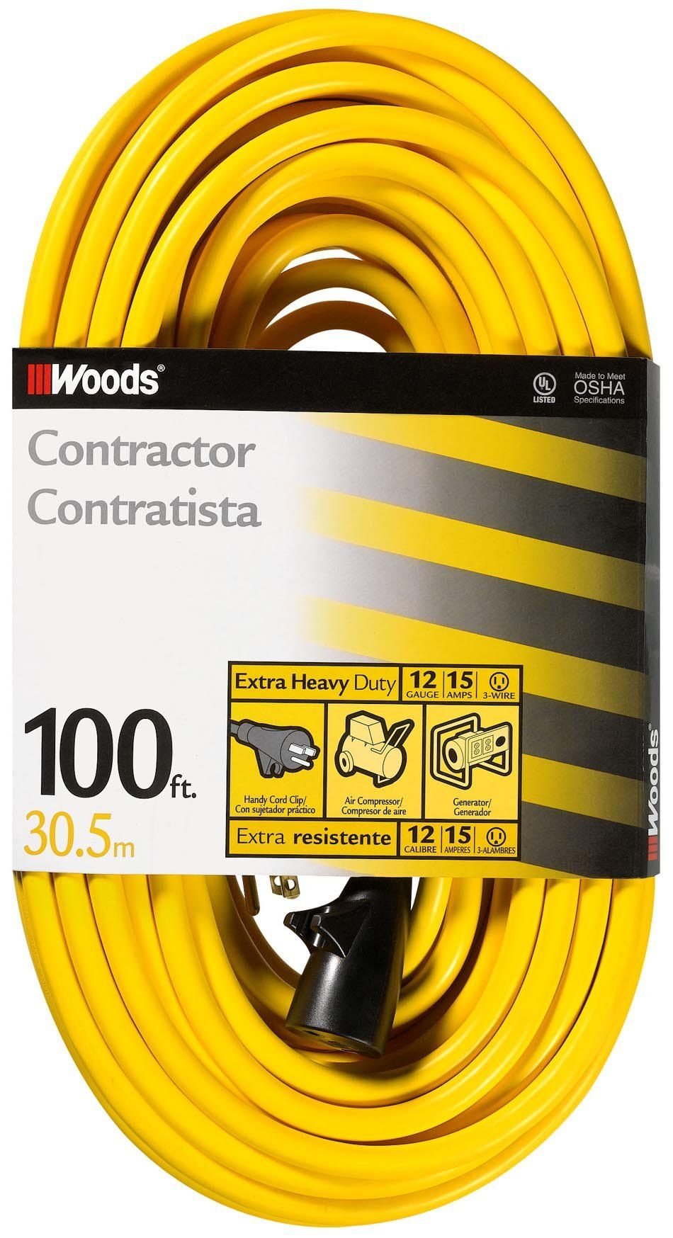 Woods 992555 12 Gauge Extra Heavy Duty 100 Ft Yellow 3 Prong Outdoor Extension Cord Clip Water Resistant Reinforc Outdoor Extension Cord Extension Cord Cord