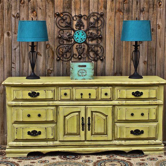 Yellow Dresser Vintage Rustic Wood Furniture Buffet Tv