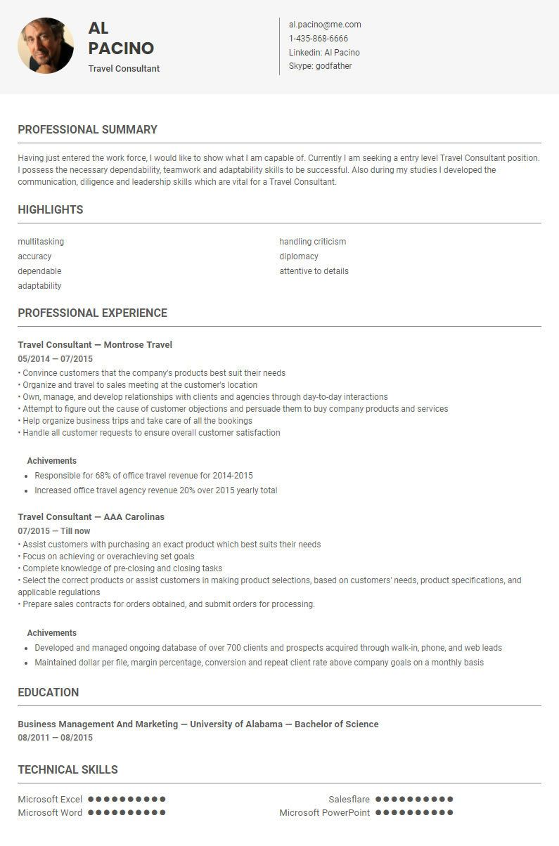 Travel Consultant Resume Template Sample By Skillroads Https Skillroads Com Sample Travel Consultant Cv Resume Sample Work Experience Resume
