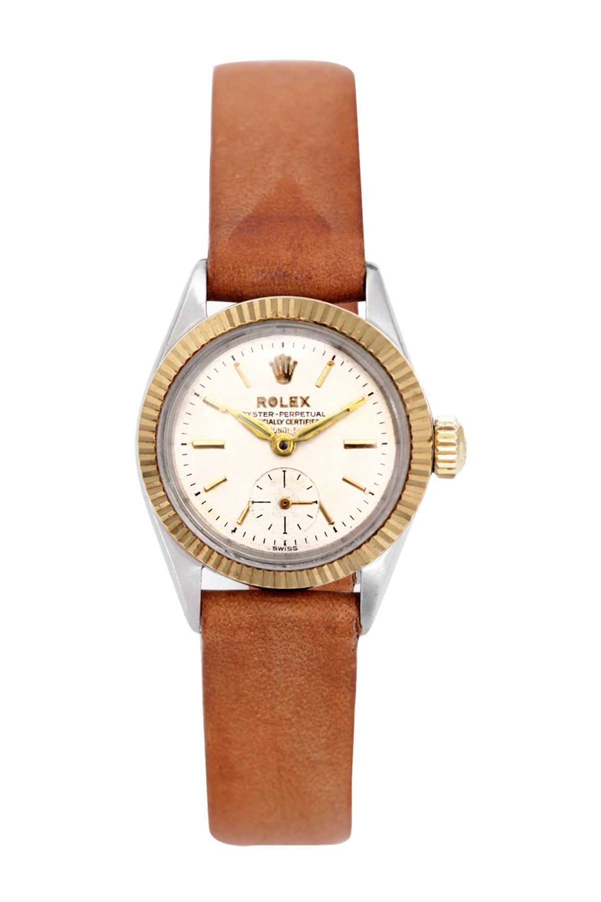 5e7a1b88ce20 Vintage Rolex Women's Oyster Perpetual Leather Band Watch ...