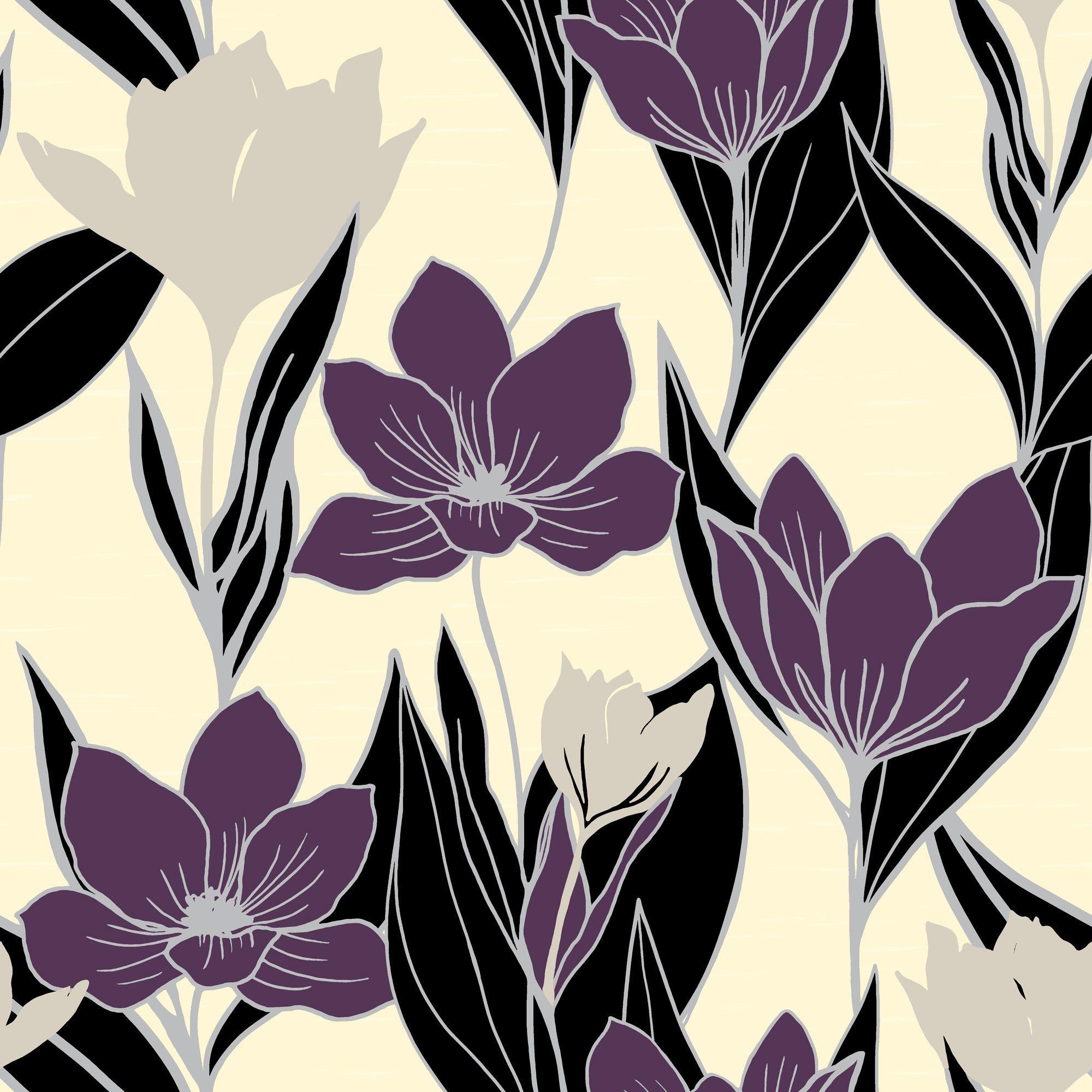 A.S. Creation Gendoa Vinyl Cream & Purple Wallpaper