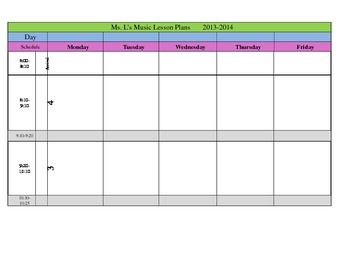 Freebie Weekly Lesson Plan Template  Teaching Music