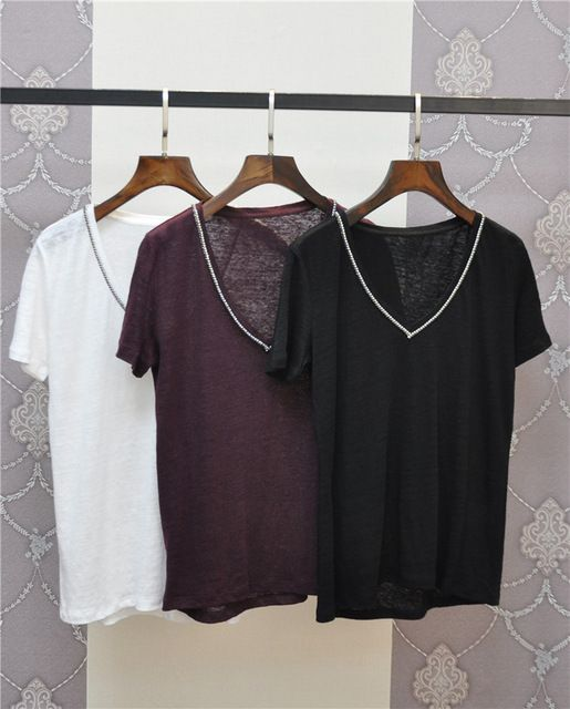 Casual Linen T Shirt Summer 2016 Short Sleeve V Neck Women Tshirt New Camiseta Mujer 2016 Tee Shirt Femme US $58.90 /piece Specifics Item Type Tops Tops Type Tees Gender Women Decoration Beading Clothing Length Regular Sleeve Style Regular Pattern Type Solid Style Casual Fabric Type Broadcloth Material Nylon,Linen Collar V-Neck Sleeve Length Short  Click to Buy :http://goo.gl/t9O329