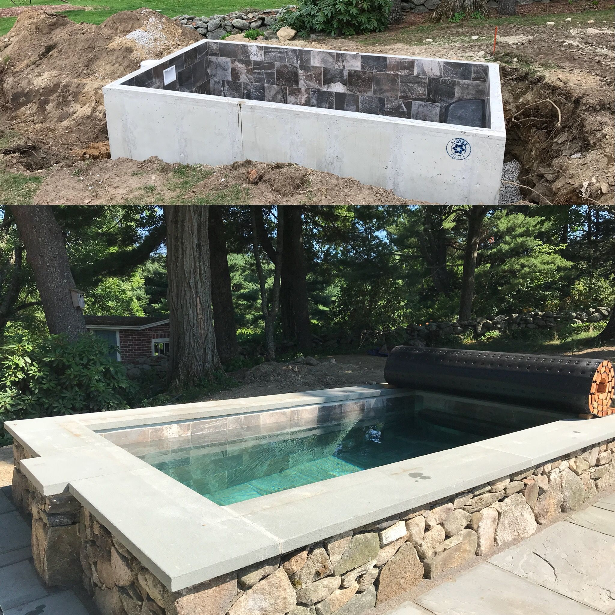 Before and after, stylish outdoor plunge pool by Soake