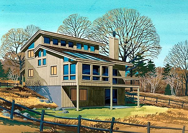 Retro Style House Plan 57446 With 2 Bed 2 Bath 1 Car Garage Passive Solar House Plans Solar House Plans Passive Solar Homes