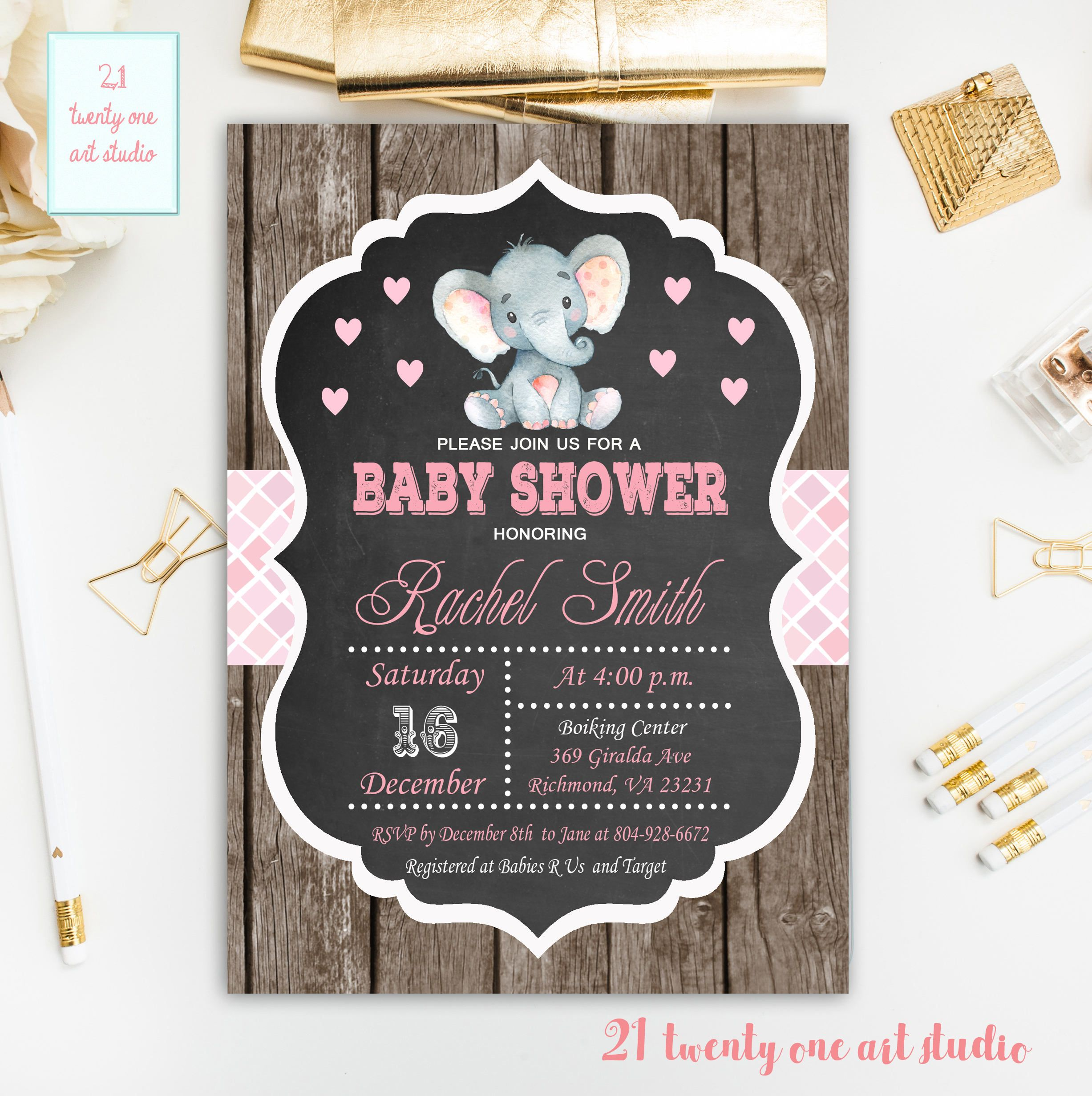 Elephant Baby Shower Invitation, Girl Baby Shower Rustic Invitation ...