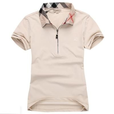 4844d8a6 Burberry Womans Polo Shirt Check Collar Beige | Fashion | Polo shirt ...