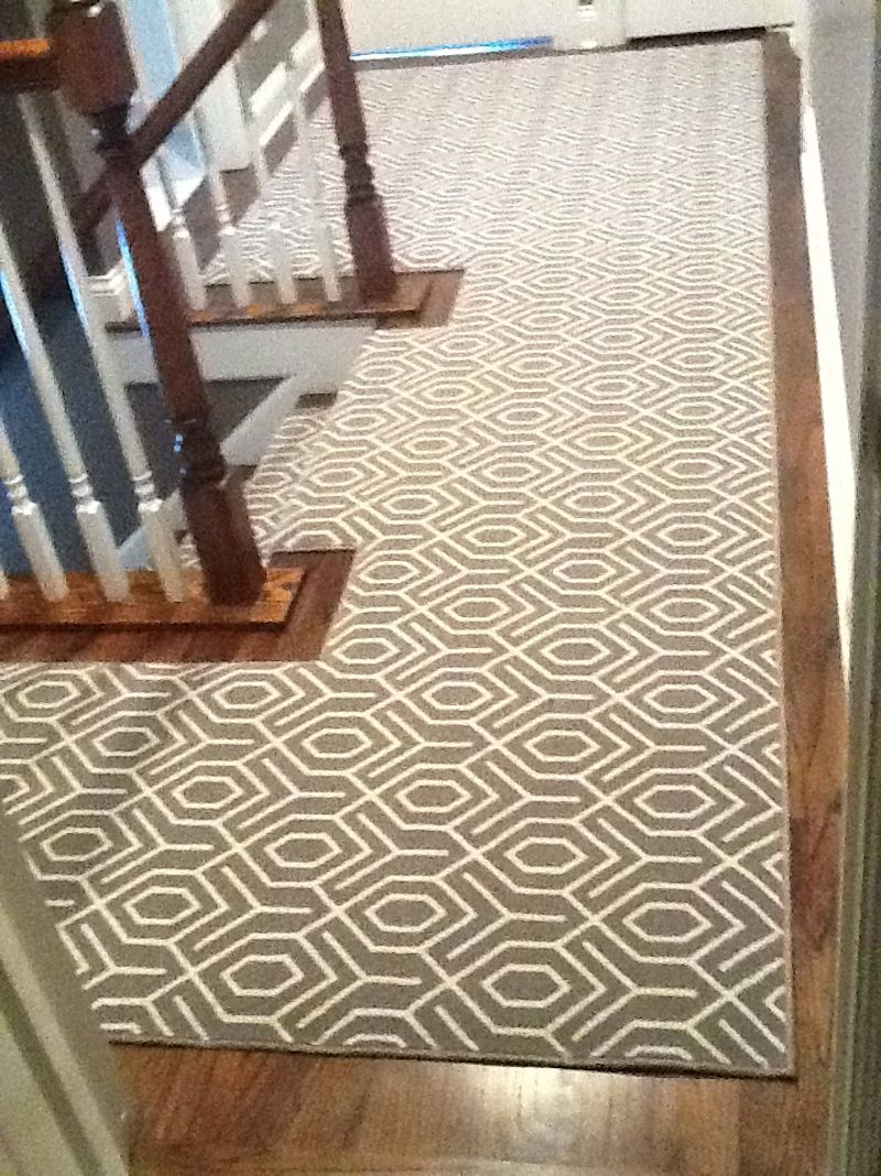Hallway stair carpet ideas  Geometric Carpet Runner on Upstairs Hall  Stair runners  Pinterest