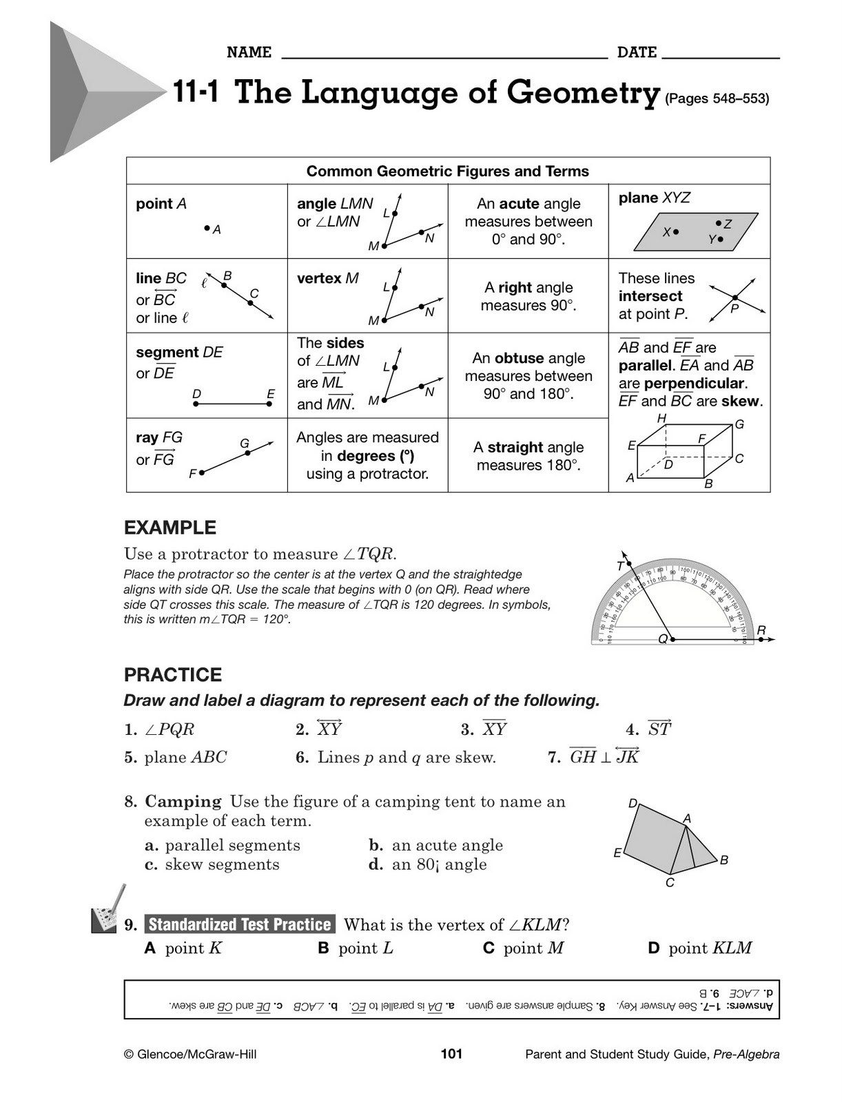 Glencoe Algebra 1 Worksheet Answers
