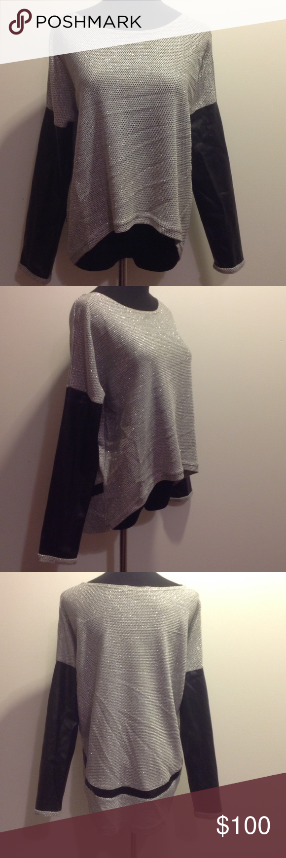 Generation Love Metallic Sweater with Leather Minimal wear size xs/s.  Fits like a small imo Generation Love Sweaters Crew & Scoop Necks