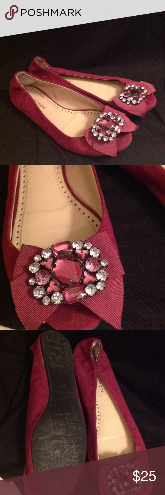 Beautiful Jeweled Open Toe Flats Perfect condition flats. Very comfortable. Open toed. Worn very gently. Beautiful jeweled toe. Make a reasonable offer! Adrienne Vittadini Shoes Flats & Loafers